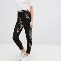 J.D.Y Floral Printed Trouser with Contrast Rib at asos.com