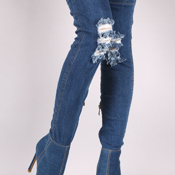 "Distressed Denim Stiletto Over-The-Knee Boots Knee High Boots Heel Height: 4.45"" Shaft Length: 28"" (including heel) Top Opening Circumference: 14.5"" Dark Blue Denim & Light Blue Denim"