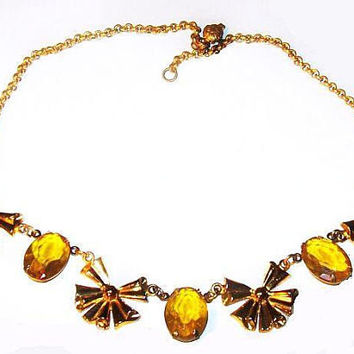 "Art Deco CORO Necklace Signed Yellow Art Glass Gold Ribbons 18"" Vintage"