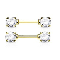 Nipple Ring Gold 14G Double Front Facing Round Rong Set CZs 316L Surgical Steel Nipple Bar