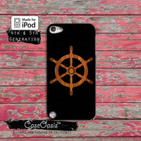 Wooden Ship Steering Wheel Sailboat Hull Cool Wood Case iPod Touch 4th Generation or iPod Touch 5th Generation Rubber or Plastic Case