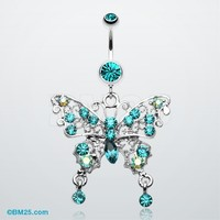 Fancy Gem Butterfly Belly Button Ring