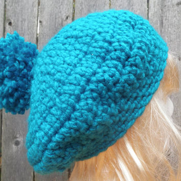 Slouchy crochet beanie with puff, chunky crochet hat, winter hat