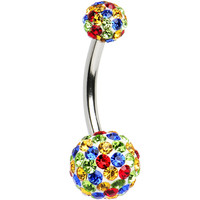 Rainbow Crystal Ferido Ball Belly Ring | Body Candy Body Jewelry