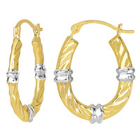 10K 2 Tone White And Yellow Gold Swirl Texture Oval Hoop Earrings