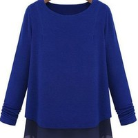 2013 Fashion Fake Two Pieces Long Sleeve Blouse