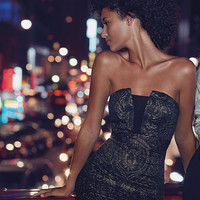 jacquard strapless mini dress