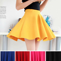 High Waist Plain Skater Flared Pleated Casual Cotton Mini Skirt