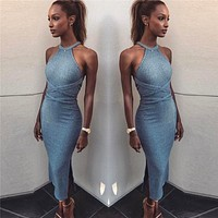 Solid Color Fashion Crisscross Bandage Sleeveless Backless Bodycon Split Dress