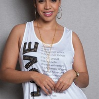 Love Nation Love Manifesto Graphic Plus-Size Tank Top With Key Necklace - White