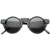 Unique Retro Futuristic Key Hole Round Horned Rim Sunglasses 9502