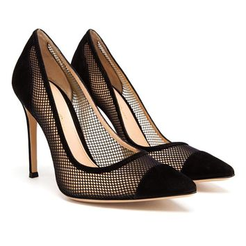 GIANVITO ROSSI | Contrasting Suede and Mesh High Heels | Browns fashion & designer clothes & clothing
