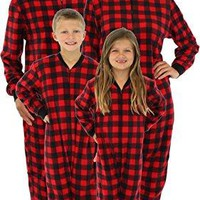SleepytimePjs Family Matching Red Plaid Fleece Onesuit PJs Footed Pajamas