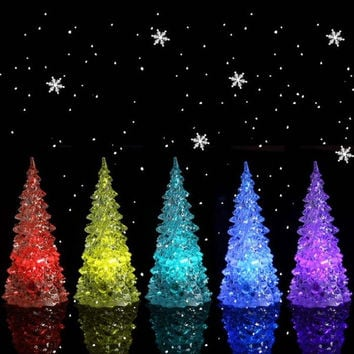 1 pcs Icy Crystal LED Christmas Tree Decoration Night Light Color Changing (Size: 3, Color: Multicolor) = 1946172804