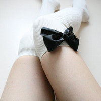 ANN ribbed cable Ivory over knee socks Thigh high socks leg warmer Preppy lolita pin up retro gift for her