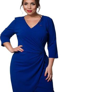 michelle Plus Size Dress Fashion Female wrap tulip short Deep V-Neck blue