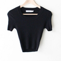 Scoop Neck Sweater Knit Crop Top - Black
