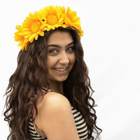 Sunflower Headband - Large Yellow Daisy Crown, Sunflower Headpiece, Sunflower Headdress, Festival Hair 2014, Festival Wear, Festival Crown