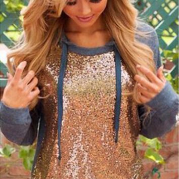 Sequins Patchwork Hoodie Long Sleeve Shirt