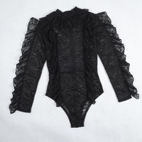 Elegant Overalls Sexy Rompers For Women Black Lace Long Sleeve Bodysuits 2017 Women Clothes Sexy Rompers#121