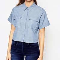 ASOS Cropped Chambray Shirt at asos.com