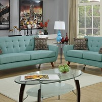 2 pc Collette collection laguna faux linen fabric upholstered sofa and love seat set