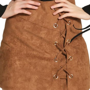 Brown Faux Suede Lace Up Pencil Skirt