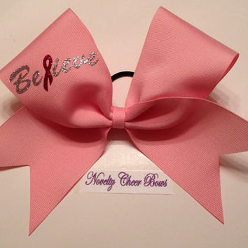 Pink Believe Breast Cancer Cheer Bow with Pink Center