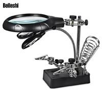 5 LED Light 10X Magnifier Desk Lamp Repair Clamp Stand Desktop Magnifying Glasses with Alligator Clip Magnifying Tool