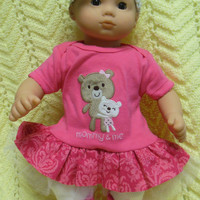 """AMERICAN GIRL Bitty Baby Clothes """"Mommy and Me Cuddly Bears"""" (15 inch) doll outfit dress, leggings, booties/ socks, and headband/hair clip"""