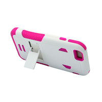 """iPhone 6 4.7"""" White PC + Pink Silicone Armor Case w/Stand"""