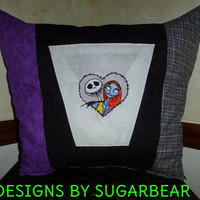 Nightmare Before Christmas Jack Skellington & Sally PILLOW BoUTIQUE Hand Crafted UNiQUE Custom  DeSiGN EMBROIDERED Designs by Sugarbear