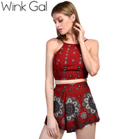 Two-piece Suit Women Summer Suits Floral Print Crop Top and Shorts Set Beachwear
