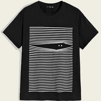 Fashion Casual Men Striped and Graphic Print Top