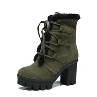Big Szie Winter Keep Warm Lace Up Cotton Chunky Heel Ankel Boots