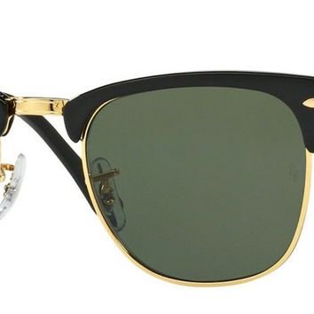 New & Authentic Ray Ban RB3016 901 Clubmaster Black Square Sunglasses