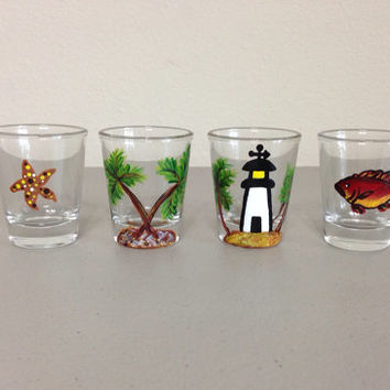 Hand Painted Shot Glasses Set of 4 Gulf Life Themed Copy