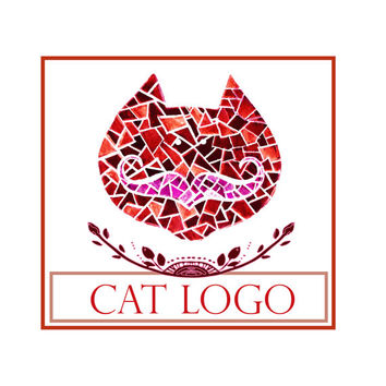 Logo design,vector cat with mustache Logo and watermark, Professional Business Logo, graphic design, logo design