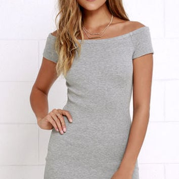 Sing Me a Sonnet Grey Off-the-Shoulder Bodycon Dress