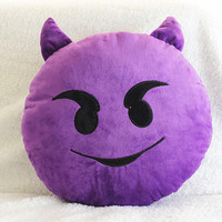 Evil Purple Emoji Pillow
