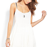 FOREVER 21 Young Romance Smock Dress Cream Large