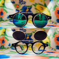 The Spike | Vintage Black Lennon Circle Flip-up Sunglasses Round Retro 80s 90s steampunk