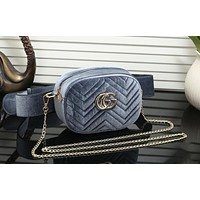 "Hot Sale ""Gucci"" Popular Women Shopping Leather Metal Chain Crossbody Satchel Long Paragraph Velvet Waist Bag Grey"