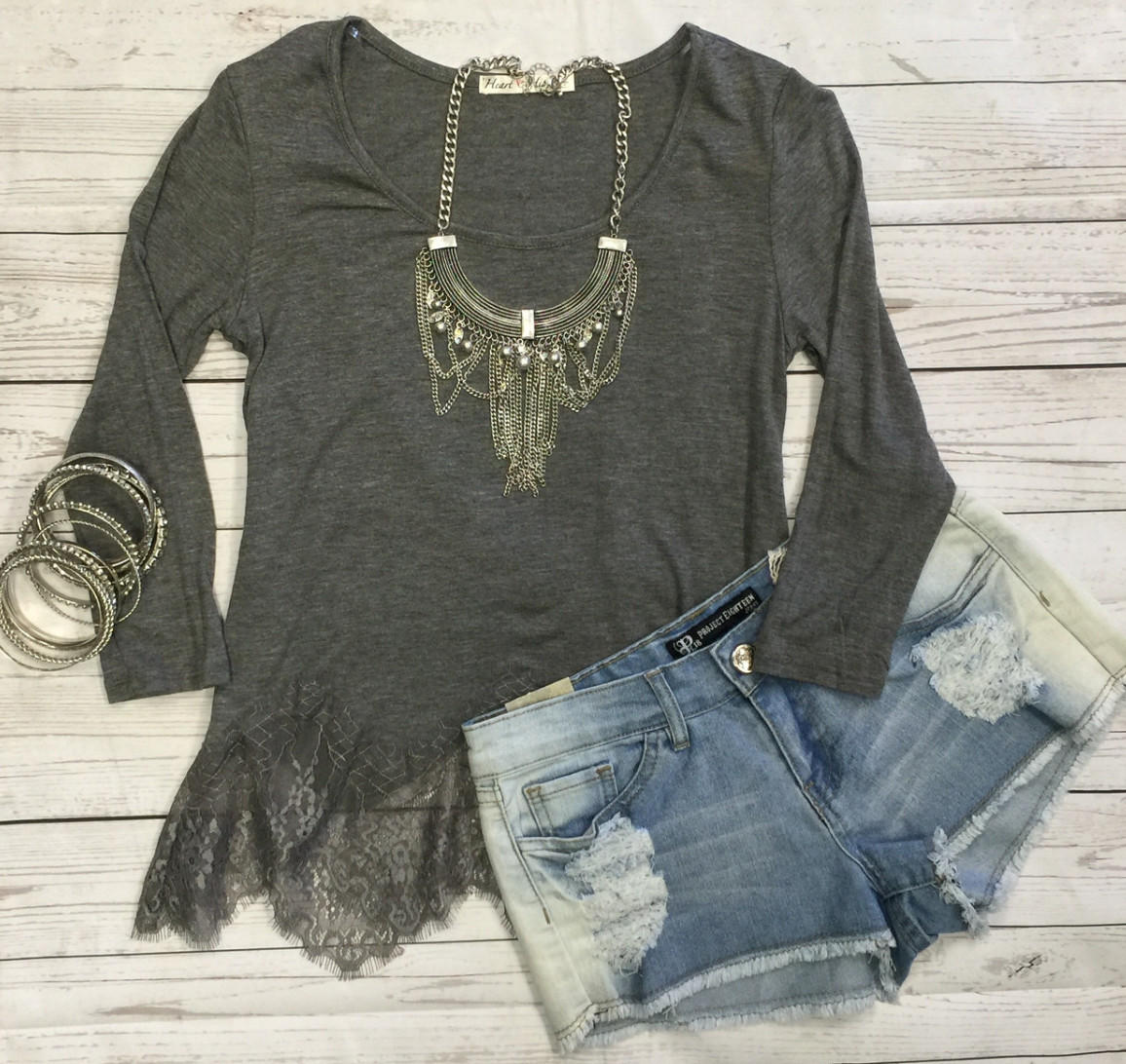 Image of Waves of Lace Top: Grey