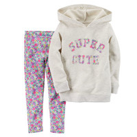 2-Piece Hooded Pullover & Leggings Set