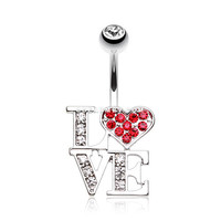 Charming LOVE Belly Button Ring (Clear/Red)
