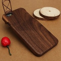 Fashion Genuine Real Natural Walnut Wood Wooden Hard Case Cover For iPhone 6 4.7 Inches Plus 5.5 Inches  AP