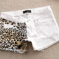 Sexy Summers Leopard White Denim Shorts for Women