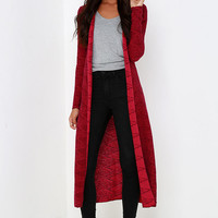 Billabong Diamond Duster Red Print Cardigan Sweater