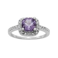 Sterling Silver Amethyst & Diamond Accent Square Halo Ring (Purple)